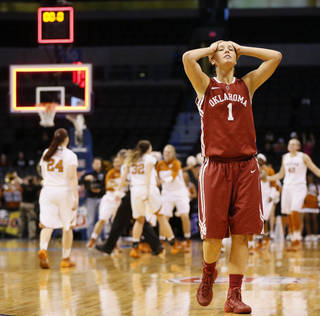Oklahoma's Nicole Kornet (1) reacts after a Big 12 women's basketball tournament game between the OU Sooners and Texas at the Chesapeake Energy Arena in Oklahoma City, Saturday, March 8, 2014. UT won, 82-72. Photo by Nate Billings, The Oklahoman