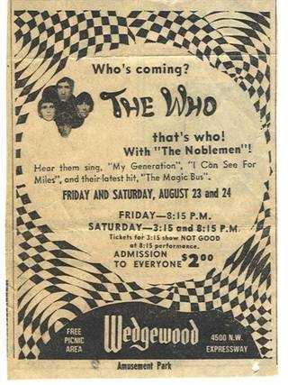 This ad for The Who's performances at Oklahoma City's old Wedgewood Amusement Park ran in the Aug. 23, 1968 editions of The Oklahoman.