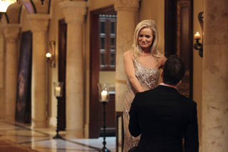 """THE BACHELORETTE - On the premiere, """"Episode 801,"""" Emily's journey begins in her hometown of Charlotte, North Carolina, where she lives with her six-year-old daughter, Ricki. After saying """"good night"""" to Ricki, Emily arrives at a southern mansion where she meets her 25 potential soulmates who have traveled across the country. They include a biology teacher, a mushroom farmer, a marine biologist and a ex-professional football player. Emily is nervous, but her anxiety slips away and soon turns to laughter as a single dad produces a glass slipper and proclaims her a princess; a youthful entrepreneur swoops in on a skateboard; a party MC shows off his dance moves; and a southern gentleman brings something special that symbolizes his dedication to protecting her and Ricki. But although one man's grand entrance in a helicopter impresses Emily, it only makes him a target of jealousy and ridicule from the other bachelors, in the eighth edition of """"The Bachelorette,"""" the female version of ABC's hit romance reality series, premiering MONDAY, MAY 14 (9:31-11:00 p.m., ET), on the ABC Television Network. (ABC/CRAIG SJODIN) EMILY MAYNARD, JACKSON"""