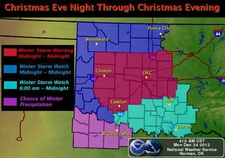 Winter storm warning map from the National Weather Service