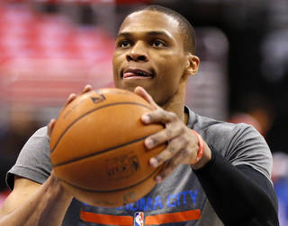 Oklahoma City's Russell Westbrook (0) warms up before Game 6 of the Western Conference semifinals in the NBA playoffs between the Oklahoma City Thunder and the Los Angeles Clippers at the Staples Center in Los Angeles, Thursday, May 15, 2014. Photo by Nate Billings, The Oklahoman