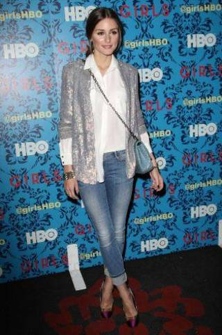 """Olivia Palermo recently attended the premiere of the HBO original series """"Girls"""" in New York City in a dressed-up pair of ordinary light jeans."""