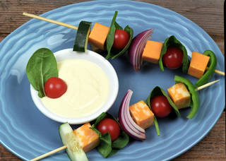 Salad on a Stick With Honey Mustard and Cilantro Lime Dressings. Photo Provided