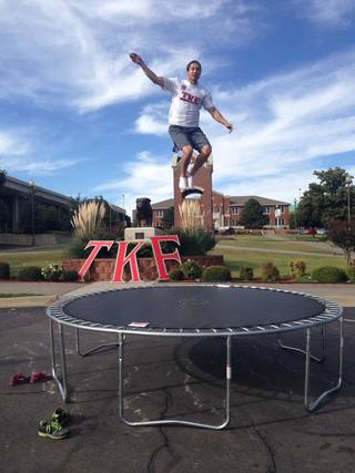 Tyler Johnson, a Southwestern Oklahoma State University student and graduate of Norman North High School, jumps on the trampoline to raise money for St. Jude Children's Hospital. PHOTO PROVIDED BY SWOSU
