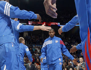 NBA BASKETBALL: Oklahoma CIty's Kevin Durant is introduced before a preseason NBA game between the Oklahoma City Thunder and the Dallas Mavericks at Chesapeake Energy Arena in Oklahoma City, Tuesday, Dec. 20, 2011. Photo by Bryan Terry, The Oklahoman