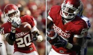 Quinton Carter (20) breaks up and almost intercepts a pass in the OU-Tulsa game.; Left is Ryan Broyles heads for the end zone. Both photos by Steve Sisney.
