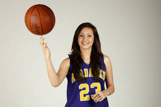 Lakota Beatty, Anadarko High School basketball player and member of the Girls Super 5, poses for a photo at the OPUBCO studio in Oklahoma City, Wednesday, April 10, 2013. Photo by Nate Billings, The Oklahoman