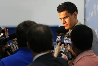 OKLAHOMA CITY THUNDER NBA BASKETBALL: Steven Adams talks to the media during a press conference at the Thunder Events center, Saturday, July 29, 2013. Photo by Sarah Phipps, The Oklahoman