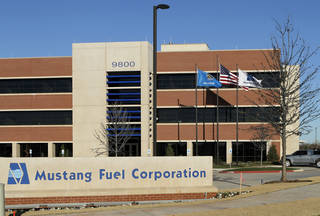 Mustang Fuel celebrates the opening of its Oklahoma City headquarters Tuesday at 9800 N Oklahoma Ave. Photo by Jim Beckel, The Oklahoman
