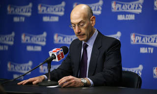 NBA Commissioner Adam Silver speaks at a news conference before Game 4 in the first round of the NBA playoffs between the Oklahoma City Thunder and the Memphis Grizzlies at FedExForum in Memphis, Tenn., Saturday, April 26, 2014. Photo by Bryan Terry, The Oklahoman