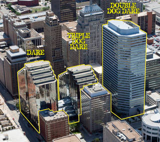 Little Willie's Triple Dog Dare organizers show the race sites in this photo of downtown: The Dare is the 22-story North Tower of Leadership Square; the Double Dog Dare includes 31-story Oklahoma Tower; and the Triple Dog Dare also includes the 16-story South Tower of Leadership Square. PHOTO PROVIDED BY GRUBB & ELLIS-LEVY BEFFORT
