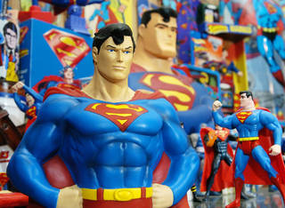 Superman action figures are displayed at the Toy and Action Figure Museum, 111 S Chickasaw St., in Pauls Valley. Photo by Jim Beckel, The Oklahoman Archives