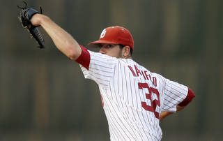 OU / UNIVERSITY OF OKLAHOMA / COLLEGE BASEBALL: Oklahoma's Damien Magnifico pitches against Arkansas at L. Dale Mitchell Park in Norman, Okla., Tuesday, April 10, 2012. Photo by Bryan Terry, The Oklahoman