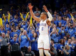 Oklahoma City's Russell Westbrook (0) celebrates during Game 1 in the first round of the NBA playoffs between the Oklahoma City Thunder and the Memphis Grizzlies at Chesapeake Energy Arena in Oklahoma City, Saturday, April 19, 2014. Photo by, Sarah Phipps, The Oklahoman