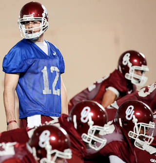 OU's Landry Jones showed just how far he improved over the course of the season by throwing for 418 yards and three touchdowns in the Sun Bowl. Photo by John Clanton, The Oklahoman