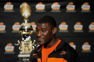 Oklahoma State's Justin Blackmon talks to the media during an Oklahoma State press conference for the Fiesta Bowl at the Camelback Inn in Paradise Valley, Ariz., Thursday, Dec. 29, 2011. Photo by Sarah Phipps, The Oklahoman