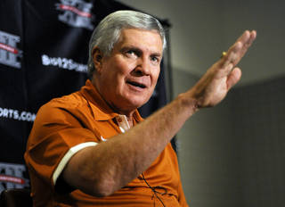Texas head coach Mack Brown answers a question at the Big 12 Conference NCAA college football media days, Tuesday, July 24, 2012, in Dallas. (AP Photo/Matt Strasen) ORG XMIT: TXMS118