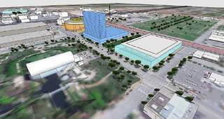 This drawing shows the location for the new convention center and park in Core to Shore, south of the Myriad Gardens. DRAWING PROVIDED