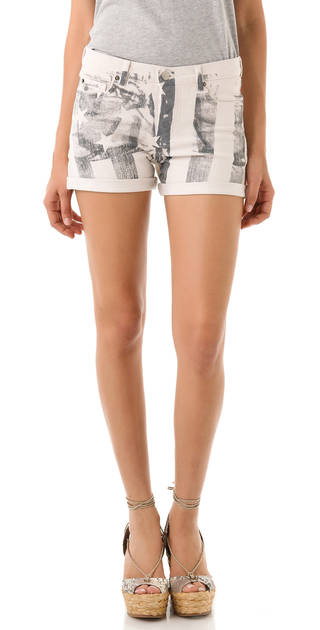 A few chic ways to accessorize this Fourth of July include these Haute Hippie American flag-print stretch-denim shorts $195. (Courtesy Shopbop.com via Los Angeles/MCT)