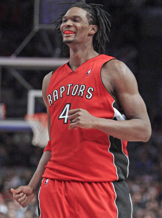 Thunder fans may fantasize about Raptors forward Chris Bosh in Oklahoma City, but it isn't likely to happen. AP PHOTO