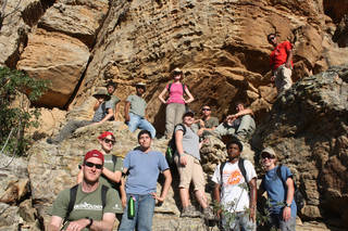 High school students who participated in the 2012 Paleo Expedition sponsored by the Sam Noble Oklahoma Museum of Natural History pose on the side of a mountain. PHOTOS PROVIDED