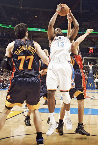Thunder rookie James Harden scored a career-high 26 points Monday. PHOTO BY CHRIS LANDSBERGER, THE OKLAHOMAN