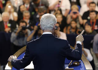 Former President Bill Clinton speaks to delegates at the Democratic National Convention in Charlotte, N.C., on Wednesday, Sept. 5, 2012. (AP Photo/Charlie Neibergall) ORG XMIT: DNC190