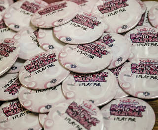 "Buttons are being worn in support of those with breast cancer during the University of Central Oklahoma ""Paint the Campus Pink"" week in recognition of breast cancer awareness. PHOTO BY CHRIS LANDSBERGER, THE OKLAHOMAN. CHRIS LANDSBERGER - THE OKLAHOMAN"