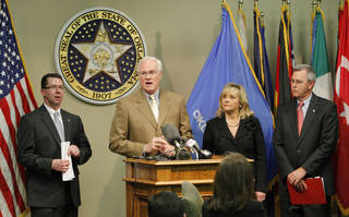 "Brad Yarbrough, DHS commission chairman, talks about the Department of Human Service's improvements in ""The Oklahoma Pinnacle Plan"" unveiled during a press conference at the state Capitol in Oklahoma City Friday, March 30, 2012. As part of the plan DHS officials intend to recruit hundreds of new foster parents so the agency can place younger children in its care in family-like settings instead of at the shelters. Looking on are House Speaker Kris Steele, Gov. Mary Fallin and Senate President Pro Tem Brian Bingman. Photo by Paul B. Southerland, The Oklahoman"