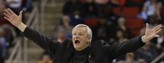Mercer head coach Bob Hoffman reacts to play against Tennessee during the second half of an NCAA college basketball third-round tournament game, Sunday, March 23, 2014, in Raleigh. (AP Photo/Gerry Broome)