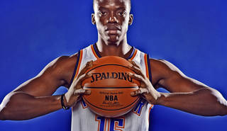 OKLAHOMA CITY THUNDER NBA BASKETBALL TEAM: Reggie Jackson during Thunder Media Day photos on Monday, Oct. 1, 2012, in Oklahoma City, Oklahoma. Photo by Chris Landsberger, The Oklahoman