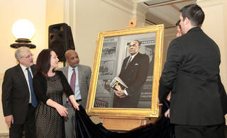 Robert Henry, artist Tracey Harris, Kevin Perry, Sen. David Holt and Trait Thompson unveil a portrait of Ralph Ellison on Thursday at the state Capitol. Photo by David McDaniel, The Oklahoman David McDaniel - The Oklahoman