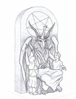 This artist's rendering provided by the Satanic Temple shows a proposed monument that the New York-based Satanic group wants to place at the Oklahoma state Capitol. The statue features a bearded, goat-headed demon sitting in a pentagram-adorned throne with children next to it. - AP PHOTO