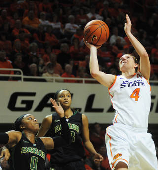 Oklahoma State's Liz Donohoe (4) shoots a basket during an NCAA girl's college basketball game between Oklahoma State University (OSU) and Baylor at Gallagher-Iba Arena in Stillwater, Okla., Sunday, Jan. 26, 2014. Baylor defeated Oklahoma State in overtime 69-66. Photo by KT King, The Oklahoman