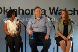 Panelists at the Oklahoma Watch-Out forum are Estella Bitson, principal of Hawthorne Elementary School; Dallas Koehn, teacher at Union 9th Grade Center, and Meredith Brown, teacher at Disney Elementary School, all in Tulsa. Photo by Carmen Forman, Oklahoma Watch Carmen Forman - Oklahoma Watch