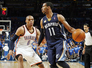 Oklahoma City's Russell Westbrook (0) defends Mike Conley (11) of Memphis in the second half during game one of the Western Conference semifinals between the Memphis Grizzlies and the Oklahoma City Thunder in the NBA basketball playoffs at Oklahoma City Arena in Oklahoma City, Sunday, May 1, 2011. Memphis won, 114-101. Photo by Nate Billings, The Oklahoman ORG XMIT: KOD