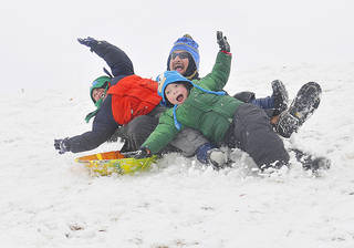 Lane Franklin sleds down an embankment Monday with his sons, Tyson and Kyzer, in Enid. A winter storm dropped snow on much of the state Sunday and early Monday, with totals as high as 4 to 5 inches in the western parts of Oklahoma and 1 to 2 inches in the Oklahoma City area. The snow prompted several school closures across the state and caused some problems on the roads. See story, Page 9A. Photo by Billy Hefton, Enid News & Eagle/AP