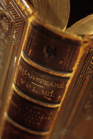 Close-up of book of Shakespeare plays