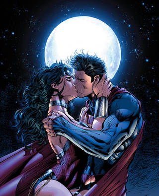 "Superman and Wonder Woman embrace in the pages of ""Justice League"" No. 12. DC Comics."