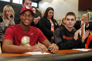 Jenks Steven Parker and Dylan Harding at the college signing at Jenks, OK, Feb. 5, 2014. STEPHEN PINGRY/Tulsa World