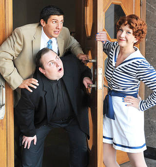 "Dallas Lish (as Billy Crocker), Justin Larman (Moonface Martin) and Renee Anderson (Reno Sweeney) head the cast of ""Anything Goes."" Photo provided by Wendy Mutz"