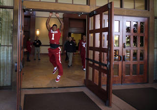 OU / COLLEGE FOOTBALL: Oklahoma's Tony Jefferson leaves media day for the Insight Bowl at the Camelback Inn in Paradise Valley, Ariz., Wednesday, Dec. 28, 2011. Photo by Sarah Phipps, The Oklahoman