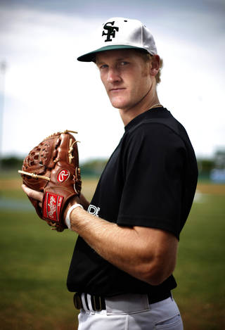 HIGH SCHOOL BASEBALL: Ty Hensley poses for a photo at Edmond Santa Fe High School in Edmond, Okla., Tuesday, May 8, 2012. Photo by Sarah Phipps, The Oklahoman