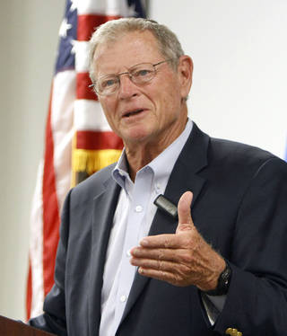 Oklahoma Sen. Jim Inhofe speaks to the Air Force Association at the Boeing facility in Midwest City, Okla., on Tuesday. Inhofe, a Republican, has announced that he will run for a fourth full term next year. PAUL HELLSTERN - AP