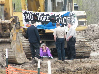 Warr Acres resident Nancy Zorn, 79, was arrested Tuesday in Hughes County, accused of locking herself to an excavator to protest the Keystone XL pipeline. Photo provided