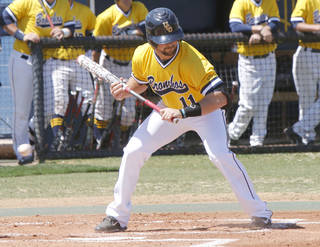 UCO senior Tyler Crabtree takes his turn at bat during a game at the University of Central Oklahoma in Edmond, OK, Friday, April 4, 2014. He was hit by pitches an NCAA Division II record 41 times last season. Photo by Paul Hellstern, The Oklahoman