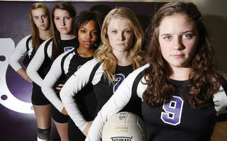 Bethany senior volleyball players, left to right, Courtney Bowie, Julia Proctor, Ambrasha Parsons, Courtney McPhail and Ashtyn Holzhauser in Bethany, Thursday October 4, 2012. Photo By Steve Gooch, The Oklahoman Steve Gooch - The Oklahoman