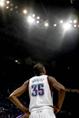 Oklahoma City's Kevin Durant looks up during the NBA basketball game between the Los Angeles Lakers and the Oklahoma City Thunder in game six of the first round series at the Ford Center in Oklahoma City, Friday, April 30, 2010. Photo by Bryan Terry