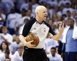 Referee Joey Crawford stops play during Oklahoma City's Kevin Durant (35) foul shots late in overtime during Game 5 in the first round of the NBA playoffs between the Oklahoma City Thunder and the Memphis Grizzlies at Chesapeake Energy Arena in Oklahoma City, Tuesday, April 29, 2014. Photo by Sarah Phipps, The Oklahoman