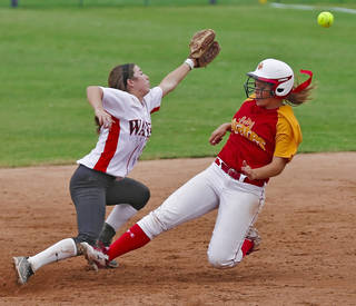HIGH SCHOOL SOFTBALL TOURNAMENT: Wayne's Caleigh Clifton (20) misses the throw as Dale's Samantha Barry (14) slides into second during the Oklahoma State Softball tournament game between Wayne and Dale at ASA Hall of Fame Stadium on Thursday, Oct. 4, 2012, in Oklahoma City, Okla. Photo by Chris Landsberger, The Oklahoman